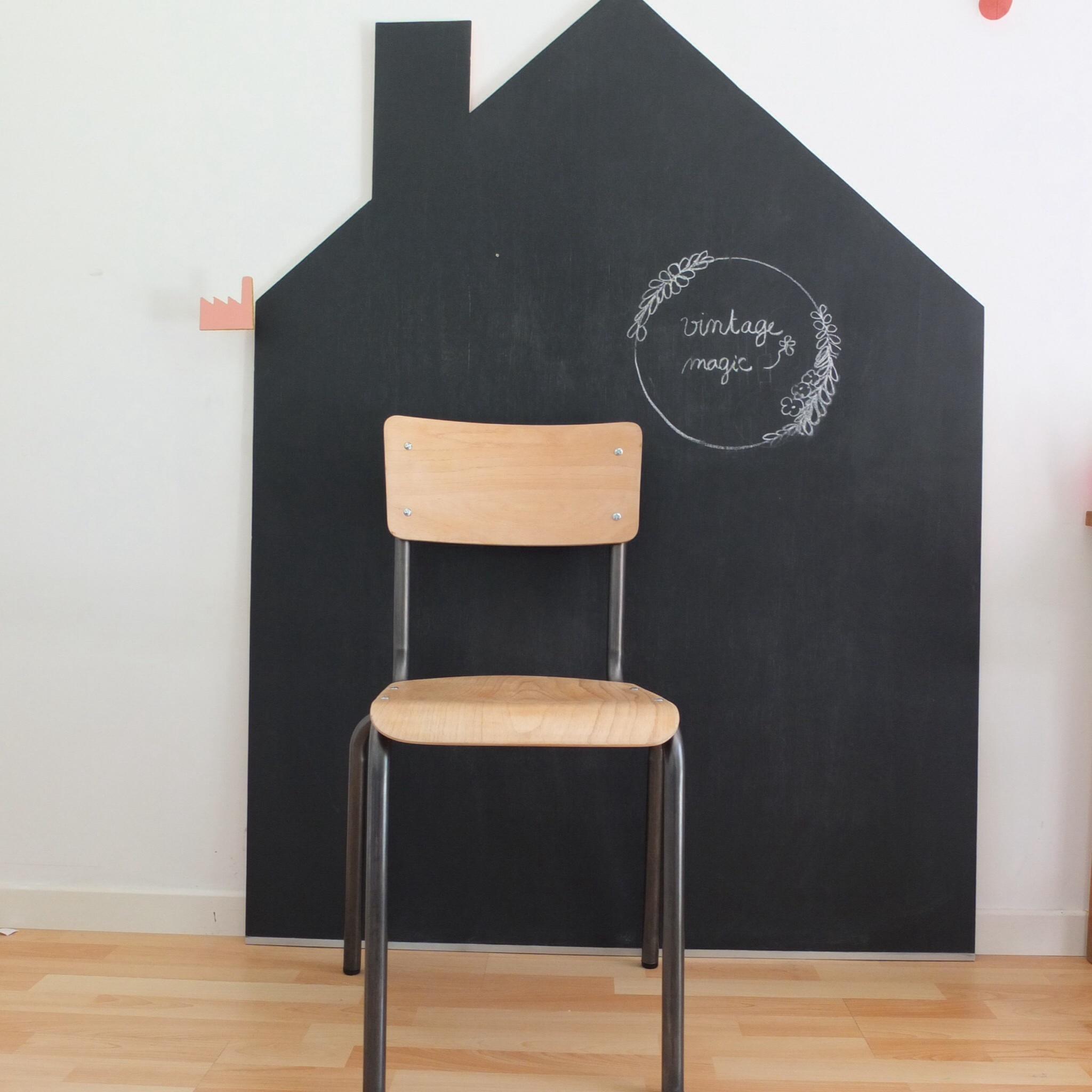 chaise d 39 cole bois brut et canon de fusil vintage magic. Black Bedroom Furniture Sets. Home Design Ideas