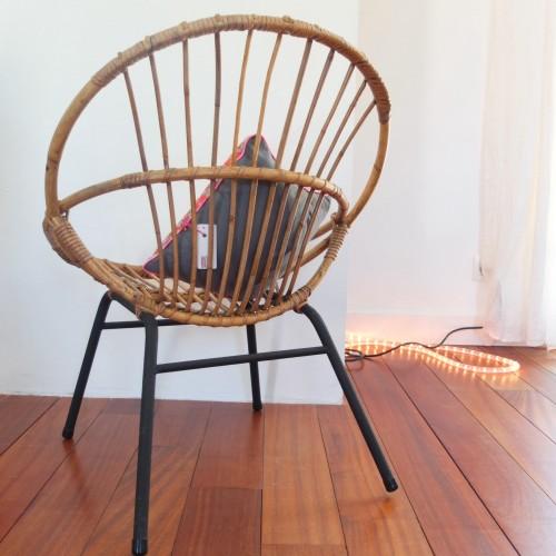 fauteuil corbeille en rotin ann es 60 vintage magic. Black Bedroom Furniture Sets. Home Design Ideas
