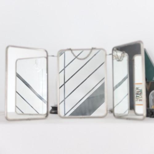 Miroir de barbier triptyque vintage magic for Miroir triptyque de barbier